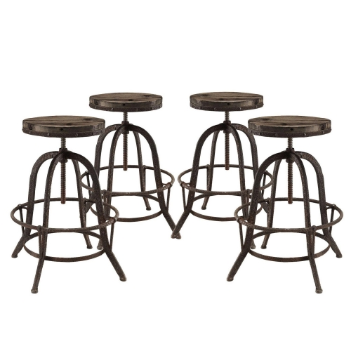 Collect Bar Stool Set of 4 - Brown