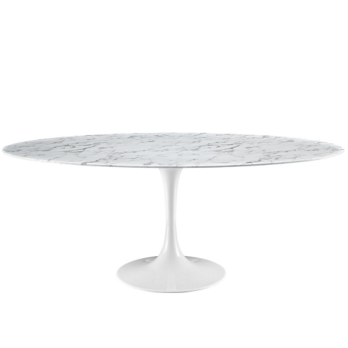 Lippa 78 Artificial Marble Dining Table - White