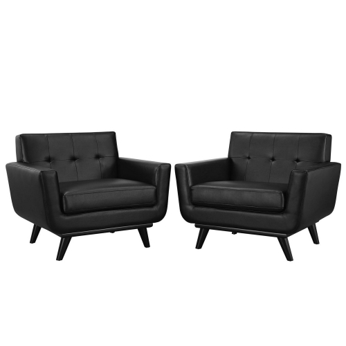 Engage Leather Sofa Set - Black