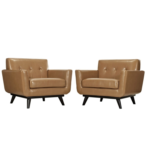 Engage Leather Sofa Set - Tan