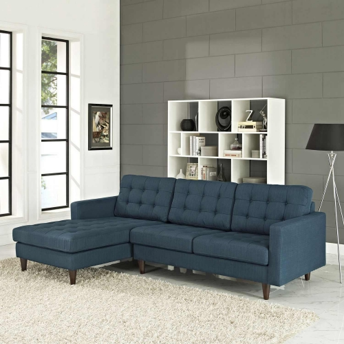 Empress Left-Arm Sectional Sofa - Azure