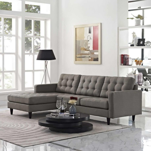 Empress Left-Arm Sectional Sofa - Granite