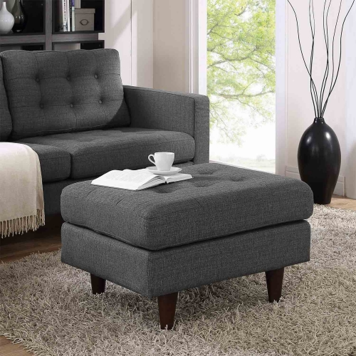 Empress Upholstered Ottoman - Gray