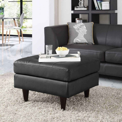 Empress Leather Ottoman - Black