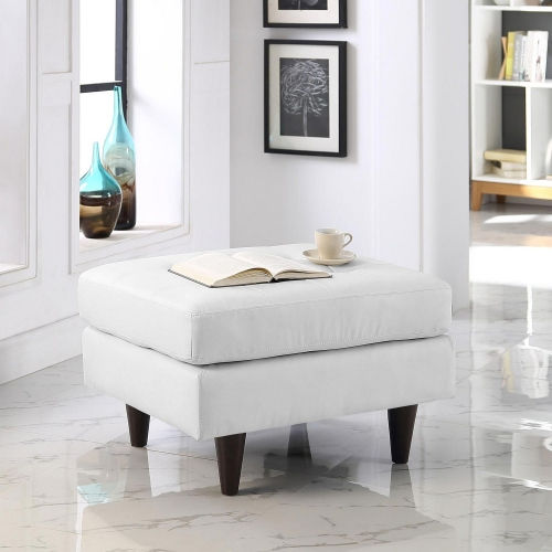 Empress Leather Ottoman - White