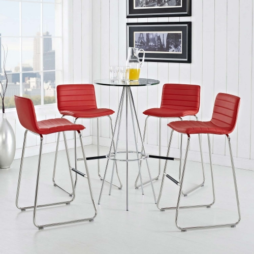 Dive Bar Stool Set of 4 - Red