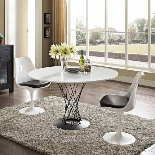 Cyclone Stainless Steel Dining Table - White