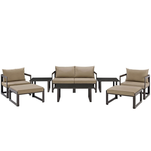 Fortuna 9 Piece Outdoor Patio Sectional Sofa Set - Brown/Mocha