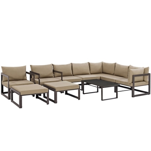 Fortuna 10 Piece Outdoor Patio Sectional Sofa Set - Brown/Mocha