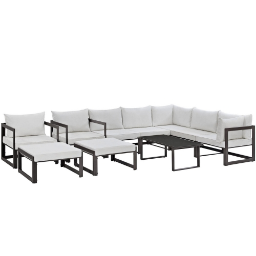 Fortuna 10 Piece Outdoor Patio Sectional Sofa Set - Brown/White