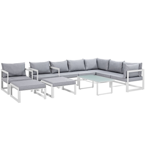Fortuna 10 Piece Outdoor Patio Sectional Sofa Set - White/Gray