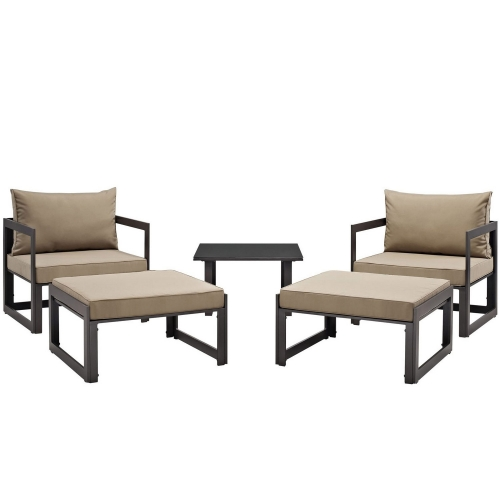 Fortuna 5 Piece Outdoor Patio Sectional Sofa Set - Brown/Mocha
