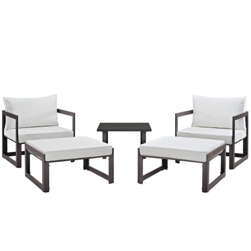 Fortuna 5 Piece Outdoor Patio Sectional Sofa Set - Brown/White