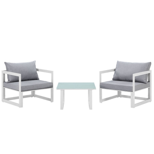 Fortuna 3 Piece Outdoor Patio Sectional Sofa Set - White/Gray
