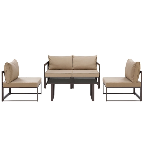 Fortuna 5 Piece Outdoor Patio Sectional Sofa Set - Brown/Mocha
