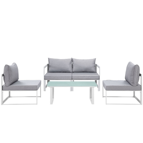Fortuna 5 Piece Outdoor Patio Sectional Sofa Set - White/Gray