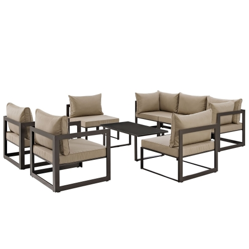 Fortuna 8 Piece Outdoor Patio Sectional Sofa Set - Brown