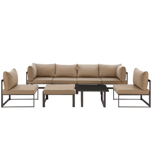 Fortuna 8 Piece Outdoor Patio Sectional Sofa Set - Brown/Mocha