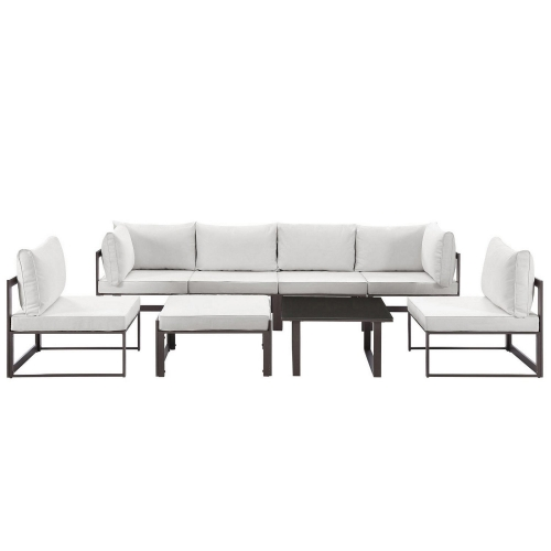 Fortuna 8 Piece Outdoor Patio Sectional Sofa Set - Brown/White