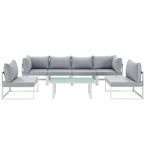 Modway Fortuna 7 Piece Outdoor Patio Sectional Sofa Set - White/Gray