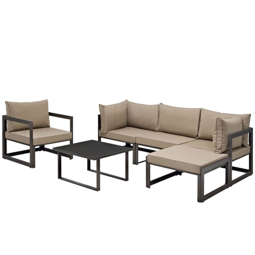 Fortuna 6 Piece Outdoor Patio Sectional Sofa Set - Brown/Mocha