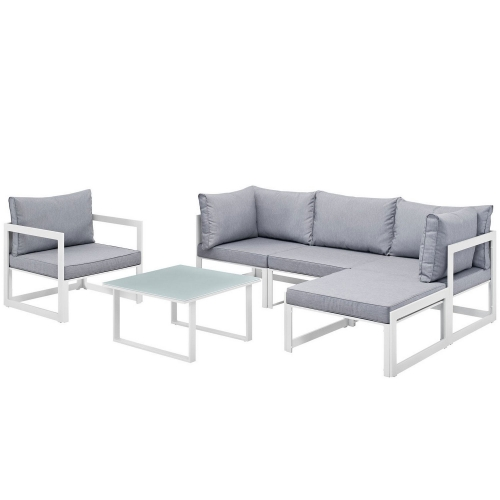 Fortuna 6 Piece Outdoor Patio Sectional Sofa Set - White/Gray