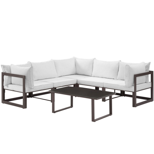 Fortuna 6 Piece Outdoor Patio Sectional Sofa Set - Brown/White