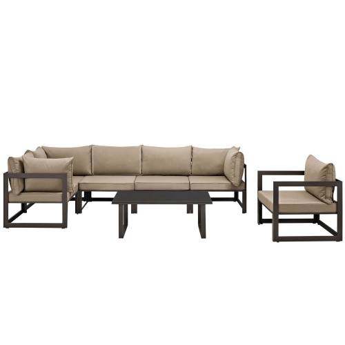 Modway Fortuna 7 Piece Outdoor Patio Sectional Sofa Set - Brown/Mocha