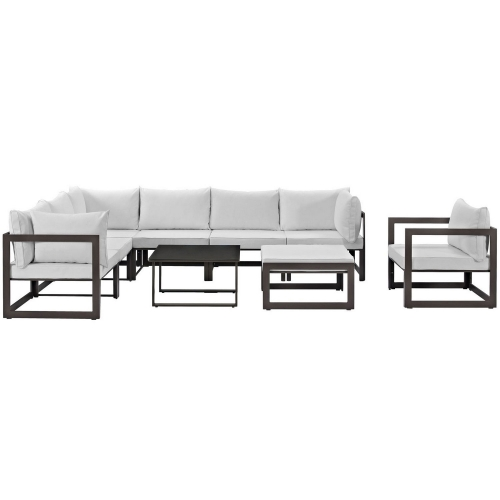 Fortuna 9 Piece Outdoor Patio Sectional Sofa Set - Brown/White