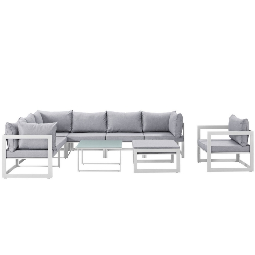 Fortuna 9 Piece Outdoor Patio Sectional Sofa Set - White/Gray