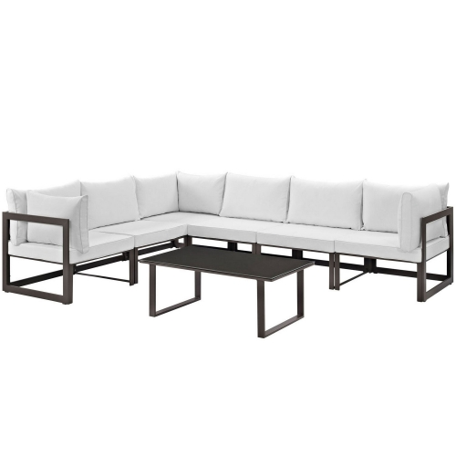 Fortuna 7 Piece Outdoor Patio Sectional Sofa Set - Brown/White