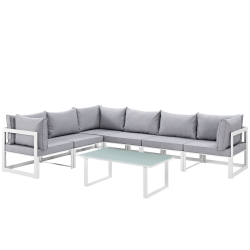 Fortuna 7 Piece Outdoor Patio Sectional Sofa Set - White/Gray