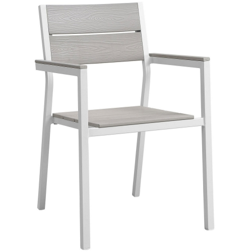 Maine Dining Armchair Outdoor Patio Set of 2 - White/Light Gray