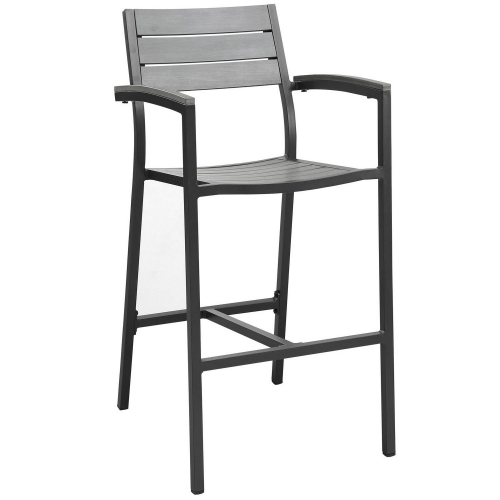 Maine Bar Stool Outdoor Patio Set of 2 - Brown/Gray