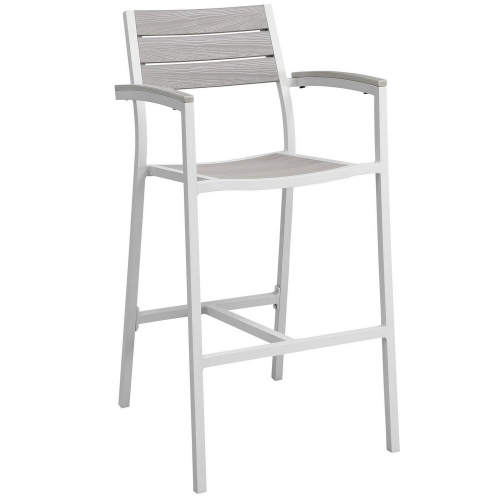 Maine Bar Stool Outdoor Patio Set of 2 - White/Light Gray