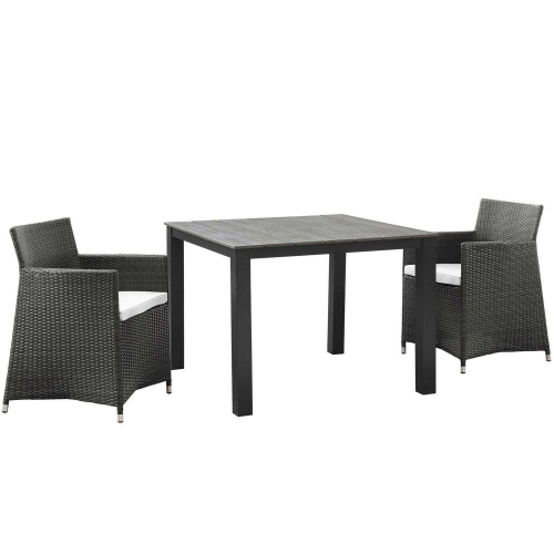 Junction 3 Piece Outdoor Patio Wicker Dining Set - Brown/White