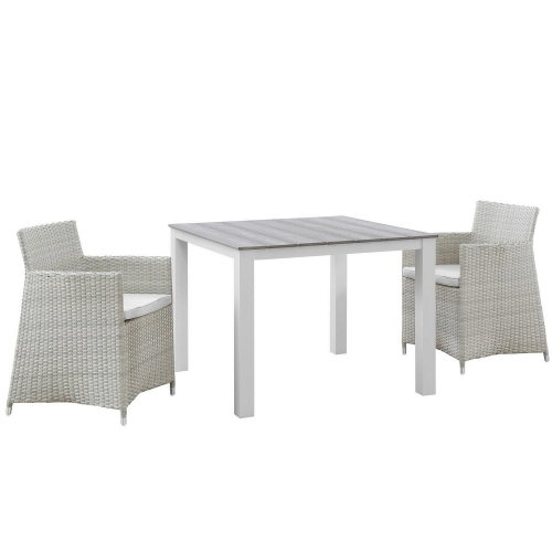Junction 3 Piece Outdoor Patio Wicker Dining Set - Gray/White
