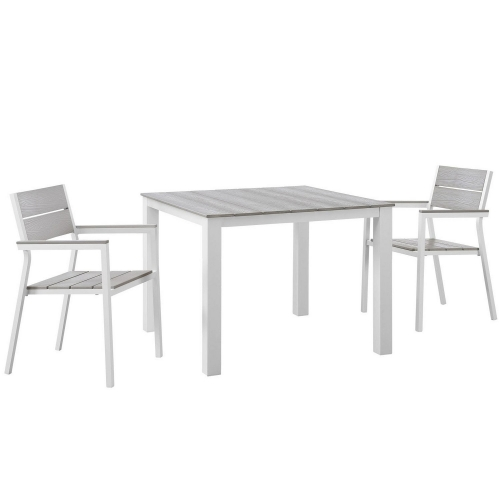 Maine 3 Piece Outdoor Patio Dining Set - White/Light Gray
