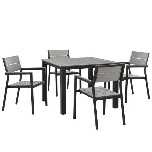 Maine 5 Piece Outdoor Patio Dining Set - Brown/Gray