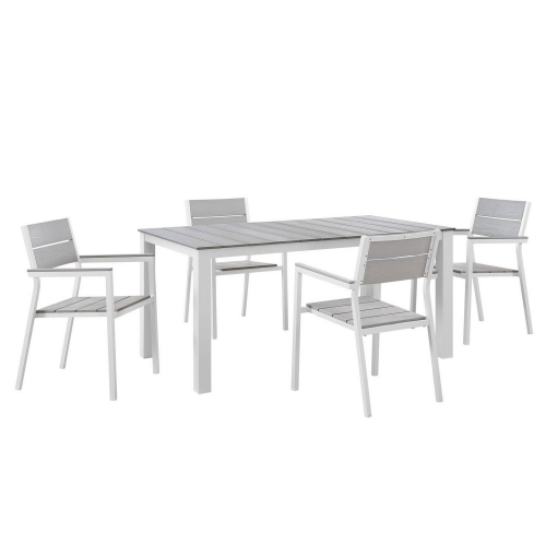 Maine 5 Piece Outdoor Patio Dining Set - White/Light Gray