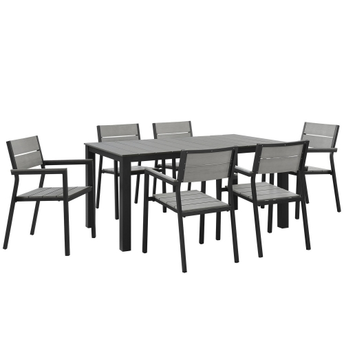 Maine 7 Piece Outdoor Patio Dining Set - Brown/Gray