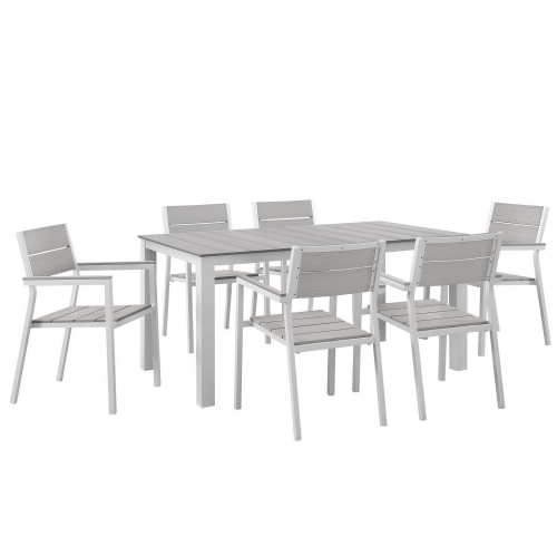 Maine 7 Piece Outdoor Patio Dining Set - White/Light Gray