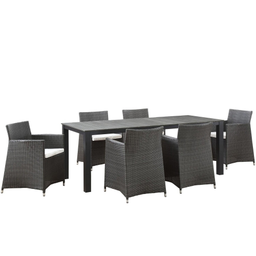 Junction 7 Piece Outdoor Patio Dining Set - Brown/White