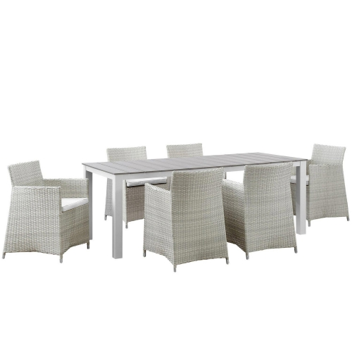Junction 7 Piece Outdoor Patio Dining Set - Gray/White