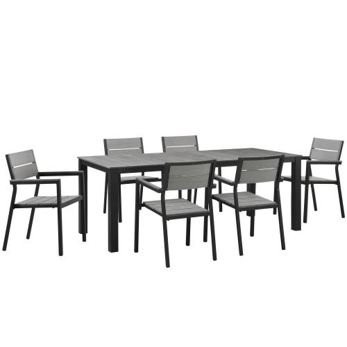Maine 7 Piece Outdoor Patio Dining Set - Brown/Gray
