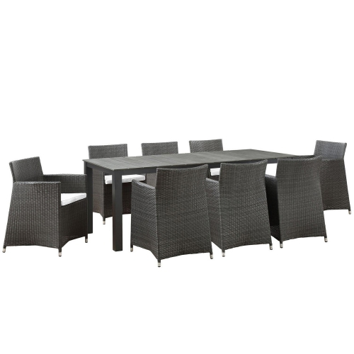 Junction 9 Piece Outdoor Patio Dining Set - Brown/White