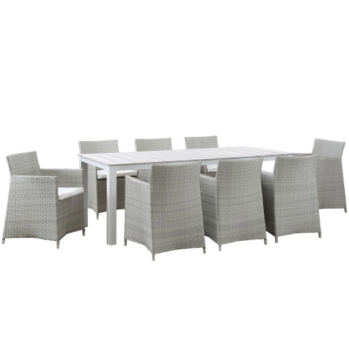 Junction 9 Piece Outdoor Patio Dining Set - Gray/White