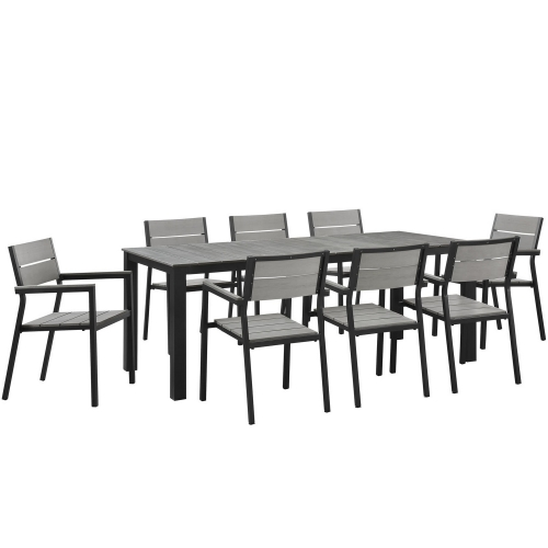 Maine 9 Piece Outdoor Patio Dining Set - Brown/Gray