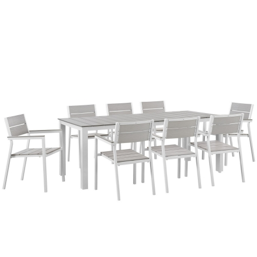 Maine 9 Piece Outdoor Patio Dining Set - White/Light Gray