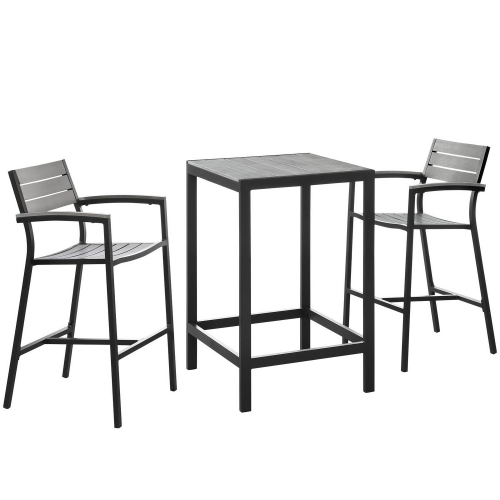 Maine 3 Piece Outdoor Patio Dining Set - Brown/Gray